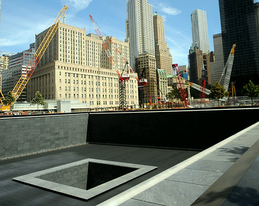 The black granite 9-11 north memorial fountain is seen at the World Trade Center construction site Thursday, Sept. 1. 2011. (Trentonian photo/Jackie Schear)